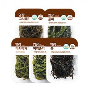염장해초 모음전 세트3(고시래기+곰피+다시마채+미역줄기+톳) (요리의바다) 이미지