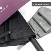 [송월우산]카운테스마라 3단 엠보체크패턴 반자동 우산 이미지