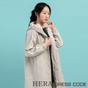 [보니스팍스] HERA DRESS CODE 루즈핏 스트링 후드 롱점퍼 이미지