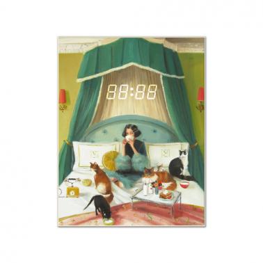 [WALL CLOCK] Mademoiselle Mink Breakfasts In Bed 명화 벽시계 이미지