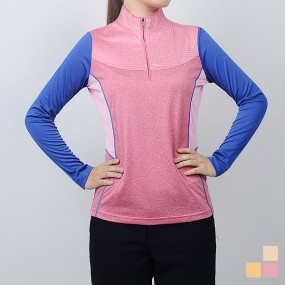 [콜핑] 봄 사선배색 반집업 티셔츠 아넬로(여) KNT0433W 이미지