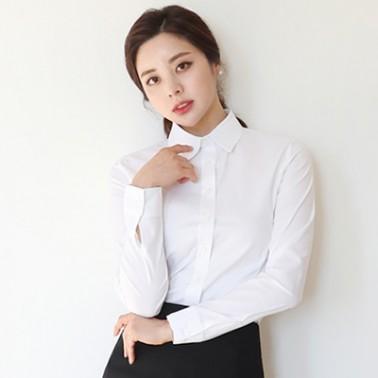 [더웨이나인] 여성 고급 화이트셔츠,여자 기본 흰남방 이미지