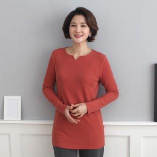 [바네사리찌] 컬러 V넥 트임 긴팔 티셔츠 이미지