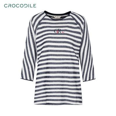[크로커다일레이디] 루즈핏 스트라이프 7부 티셔츠(CL0STS702)