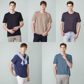 [브루스필드] 남성 린넨블렌딩 티셔츠 5종 세트 이미지