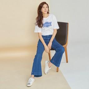 ★CJ오쇼핑*AZA★ 셀렙샵x김하늘 로고 슬림핏 티셔츠 이미지