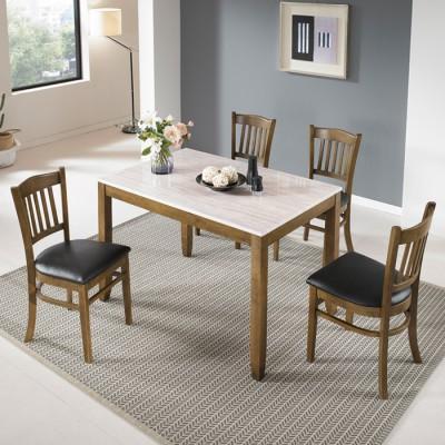 [아자픽] 데코라인  올뉴메이트 4인 대리석 식탁세트 (식탁테이블1ea+의자4ea) 이미지