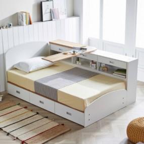 [마티노 가구] 아이린 3단 수납 슈퍼싱글 침대 매트리스 포함 이미지