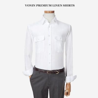 [보닌] VONIN 슬림핏 노멀워싱 린넨 포켓 셔츠 TGE003WH