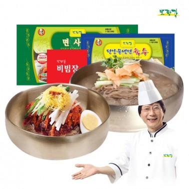 냉면하면 모란각! 23년 전통, 김용의 모란각냉면<br> 평양식 물냉면 + 함흥식 비빔냉면세트 이미지