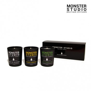 [몬스터스튜디오] 100% 콩으로 만들어진 소이왁스 안전인증 탈취효과 은은한 향 부띠크 미니캔들 76g 3종세트 이미지