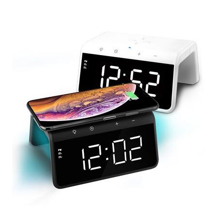 [유엠투] 은은한9가지 LED 무드등 고속무선충전 무소음 알람시계 AL700