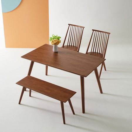 킹덤퍼니처 원목 4인용식탁(2인용벤치+원목체어2EA) 고무나무/유럽풍/신혼가구 이미지