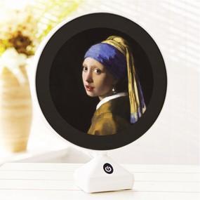 LED거울  고급형 원터치 스탠드 무드등 겸용 세계명화 진주귀걸이를 한 소녀 이미지