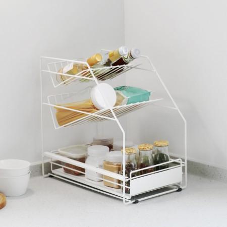 모노블 양념통 정리 슬라이딩 주방 수납선반 이미지