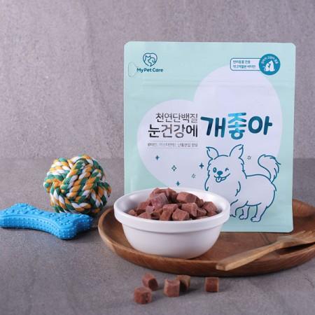 [마이펫케어_반려동물 건강식품] 천연단백질 루테인 츄어블 큐브 눈건강에 개좋아 120gx1봉 루테인 브로콜리 분말 오리안심 함유 이미지