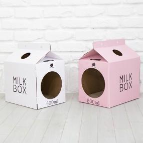[펫토리아] 한발뚝딱 하우스 고양이스크래쳐 MILK BOX (화이트/핑크) 이미지