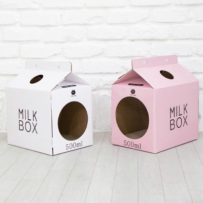 [펫토리아] 한발뚝딱 하우스 고양이스크래쳐 MILK BOX (화이트/핑크)