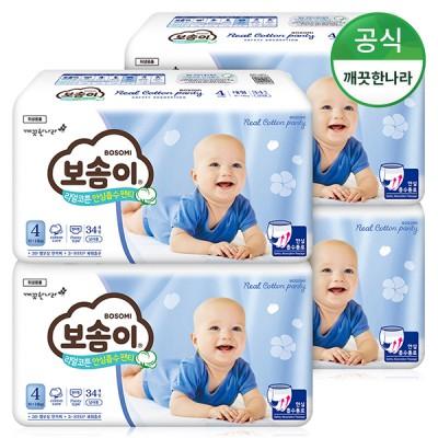 [보솜이] 리얼코튼 안심흡수 팬티 대형 남아 34개입 4팩 (10~14kg)