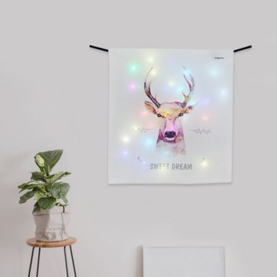 [디자인에버] 스윗드림디어 LED 패브릭 액자 벽트리 (S)