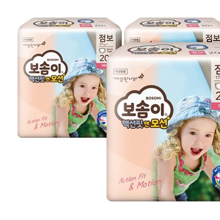 [보솜이] 액션핏앤모션 팬티형 기저귀 점보형 여아 20매 X 4팩(17kg~) 이미지