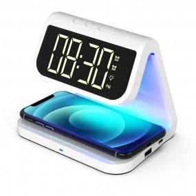 [유엠투]무선 고속 충전기 거치대 UV-C LED 무소음 알람시계 살균기 AL900UV 이미지