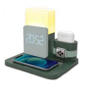 [유엠투]올인원 무선고속충전 LED무드등 애플워치 갤럭시워치 에어팟프로 멀티충전기AL3in1 이미지