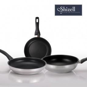 [쉬젤] Shizell 스테인레스 프라이팬 3종세트 (24.28cm프라이팬+28cm궁중팬) 이미지