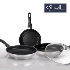 [쉬젤] Shizell 스테인레스 프라이팬 4종세트(B) (24.28cm프라이팬+28cm궁중팬+28cm유리커버) 이미지