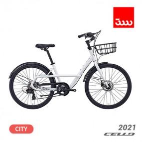 [첼로] 21년형 페이지 7단 26인치 하이브리드 시티형 바구니 자전거 이미지