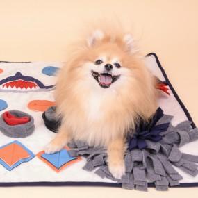 [퍼피아] 강아지 상어 매트 반려애견 노즈워크 (크림&네이비) 이미지