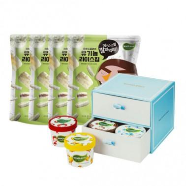 [떼르드글라스] 유기농 라이스칩(30gx4입)+유기농 아이스크림 기프트박스(90mlx8입) ★뻥스크림만들기★ 이미지