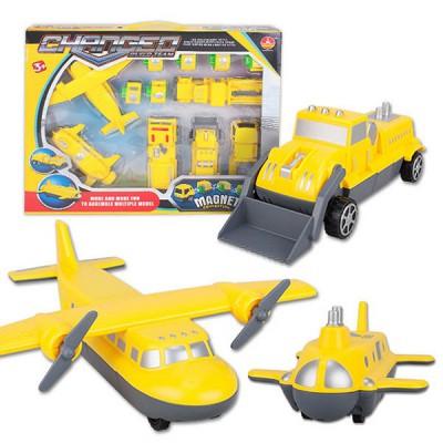 마그네틱 블록카 (비행기+시멘트트럭+불도저+트럭+소방차+마그네틱 블럭 6개)