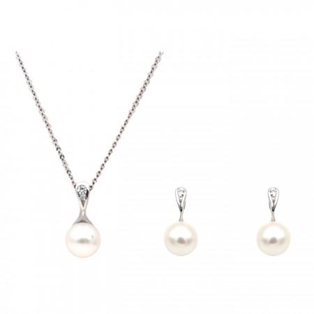 [에비뉴다이아몬드] 18K 시크 아코야 해수진주 귀걸이 목걸이 세트 이미지