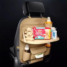 차량용 뒷좌석 가죽 시트백 멀티포켓 수납 정리함 테이블 이미지