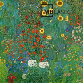 뮤라섹 구스타프 클림트 꽃이 있는 농장 정원 70x70x3.5cm 이미지
