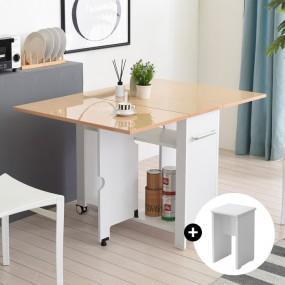 이동형 폴딩 테이블 식탁(하이그로시800)+의자2개 KD481 이미지