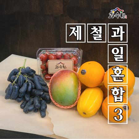 [과수원] 제철과일혼합3 (오렌지 3과 + 참외 3과 + 골드망고 1 + 가지포도 500g + 방울토마토 500g)