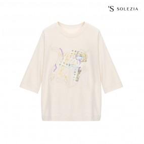 에스쏠레지아 자수 프린팅 티셔츠 SOL3MTS520 이미지