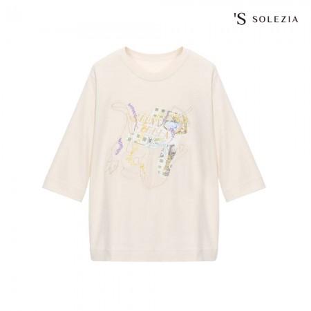 에스쏠레지아 자수 프린팅 티셔츠 SOL3MTS520