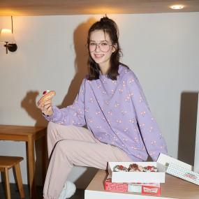 CLWT8076 체리 패턴 스웨트 셔츠 체리바이올렛 이미지