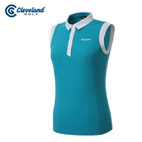 [클리브랜드골프] 암홀 넥라인 컬러배색 여성 3버튼 민소매 티셔츠/골프웨어_CGKWTS1085BL 이미지