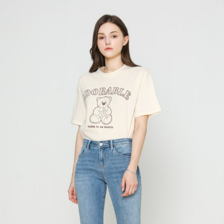 [VISIT IN NEWYORK]  베어 프린팅 티셔츠 VX4STE1 이미지
