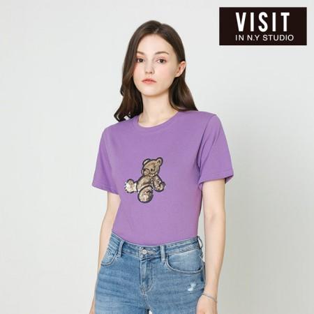 [VISIT IN NEWYORK]  베어 스팽글 티셔츠 VX4STE8