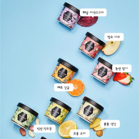 [젤요 젤라또] 우리 농산물로 만든 건강한 젤라또_8종 6개입(3+3)/감귤,딸기,사과,유자,생강,작두콩,쑥,자색고구마 이미지
