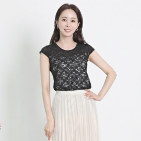 [바네사리찌] 쁘띠 반팔 레이스 티셔츠 데일리룩 이미지