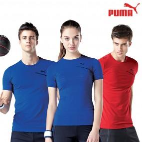 푸마 반팔티셔츠 PU8201 블루 레드 라운드티셔츠 이미지
