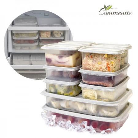 [꼬망뜨] 국내생산 냉동/냉장 정리용품 대용량 밀폐용기 10종세트 (전자레인지/식기세척기) 이미지