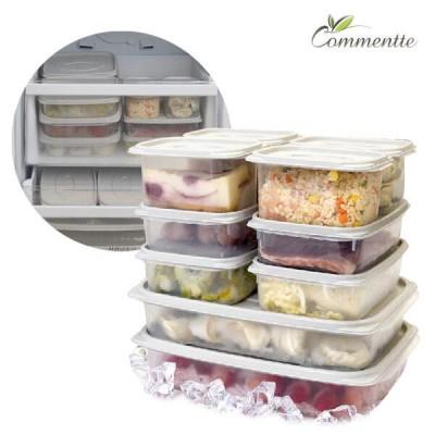 [꼬망뜨] 국내생산 냉동/냉장 정리용품 대용량 밀폐용기 10종세트 (전자레인지/식기세척기)