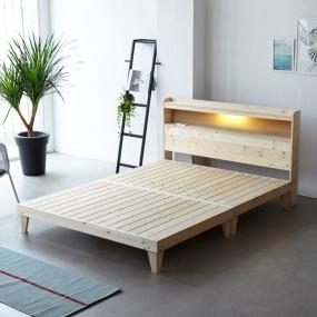 소나무 원목 침대 Q (LED마루형) OT066 이미지